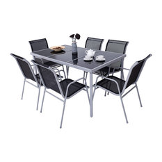 Costway Furniture 7 Piece Steel Table Chairs Dining Set Outdoor Glass Table Top