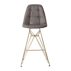 MidCentury Modern Tufted Bar Stool With Gold Finished Legs Gray