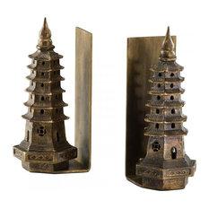 Cyan Design Pagoda Bookends, Gold Leaf