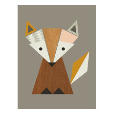 """Geometric Fox"" Printed Canvas by Little Design Haus, 50x40 Cm"