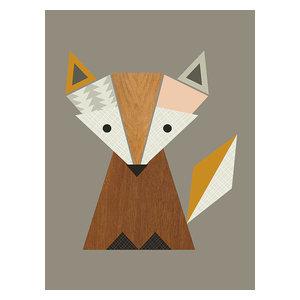 """Geometric Fox"" Printed Canvas by Little Design Haus, 50x40 Cm"
