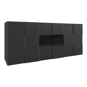 Chequers Glossy Dark Grey Sideboard, 2 Doors and 2 Drawers