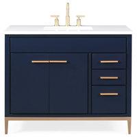"""42"""" Beatrice Modern Navy Blue Bathroom Vanity"""