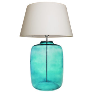 Misool Aquamarine Table Lamp With Cream Shade
