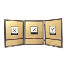 11580T Brushed Pewter Bead 8x10 Hinged Triple Picture Frame