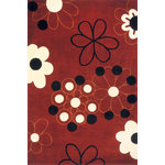 """Momeni - Momeni Koi Hand Tufted Wool Red Runner 2'6""""x8' - East meets west in this beautiful of hand-tufted wool rugs. Bold designs and contemporary colors enhance the Chinese characters and Asian elements featured in this group. Hand carving adds depth. Made of 100% wool."""