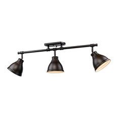 Duncan 3-Light Semi-Flush, Track Light, Bronze With Bronze Shade