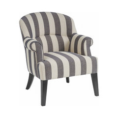 Drew Club Chair, Gray/Beige Stripe. Striped Armchairs And Accent Chairs