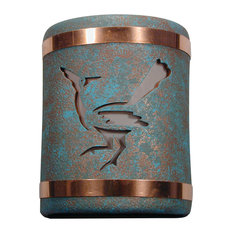 """9.5"""" Round Closed Top Ceramic Wall Sconce, Roadunner Center Design, Turquoise"""