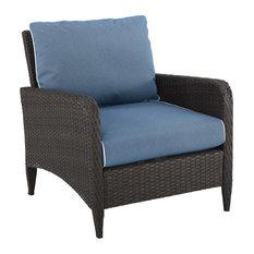 Kiawah Outdoor Wicker Arm Chair Blue/Brown