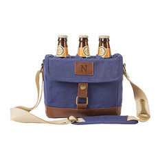 Personalized Insulated Waxed Canvas 6-Pack Bottle Carrier, Navy, N