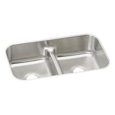 Elkay Lustertone Stainless Steel 2 Bowl Sink w/ Aqua Divide, Lustrous Satin