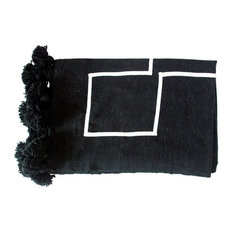 Moroccan Pom Pom Blanket White on Black, White on Black