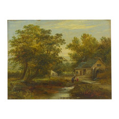 """Consigned """"A Small Mill"""" Antique English Landscape Painting by Mark Dockree"""