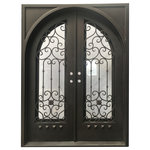"""mcm3 - 72""""x96"""" Exterior Wrought Iron Door With Low-E Double Glass - Material: Hand-forged using 12 gauge steel and 5/8 inch scroll work, they are pre hung and tested for quality assurance."""