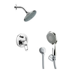 "Chrome Shower System With 6"" Rain Shower Head and Hand Shower"