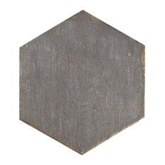 "14.13""x16.25"" Lambris Hex Porcelain Floor/Wall Tiles, Set of 9, Cendra"