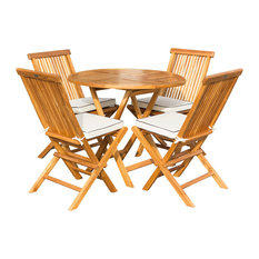 """5-Piece Teak Wood California 47"""" Round Folding Table with 4 Folding Side Chairs"""