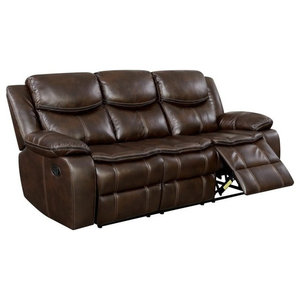 Transitional Style Double Recliner Sofa