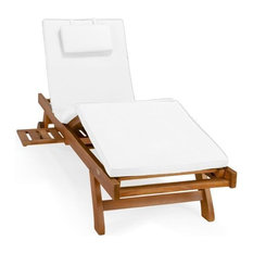 All Things Cedar Teak Multi-Position Chaise Lounger and Cushion, White
