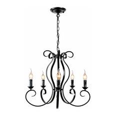 5 Light Vintage Metal Black Candle Chandelier