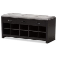 Espresso Finished Grey Fabric Upholstered Cushioned Entryway Bench