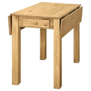 Traditional Dining Table Solid Pine Wood, Drop-Leaf Design With 1-Storage Drawer