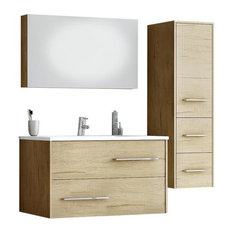 DP Fancy Wall Bathroom Vanity Cabinet Set Single Sink, PL Wood Finish Laminated