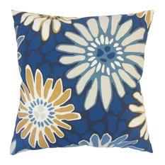 "Sabeen Floral Down Filled Throw Pillow, Indigo, 12""x18"""