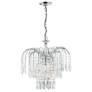 Waterfall Shower Crystal Chandelier 3-Light Cut Polished Chrome Frame