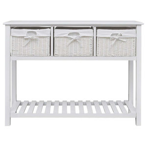 Traditional Stylish Storage Cupboard, White Finished MDF With 3 Wicker Drawers