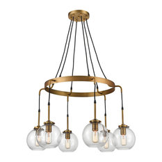 Mountain Creek 6 Light Pendant in Aged Brass