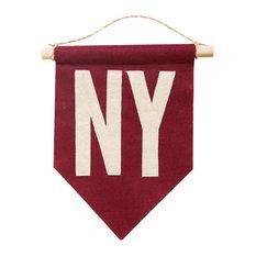 "Consigned NY Felt Flag Crimson, 7"" x 10"""