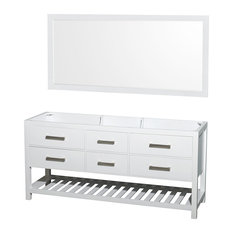 "Natalie 72"" Double Bathroom Vanity, White, 70"" Mirror"