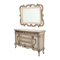 AICO Furniture, Platine de Royale Sideboard and Wall Mirror, Champagne