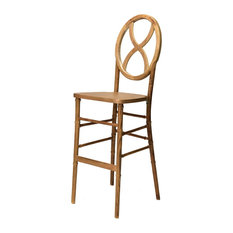 Veronique Series Stackable Sand Glass Wood Barstool, Tinted Raw