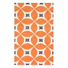 Hand-Tufted Gabriela Area Rug, Deep Orange, 5'x8'
