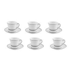 AULICA - Strass Coffee Cups, Set of 6 - Cappuccino & Espresso Cups