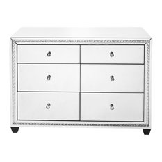 "47"" Crystal Six Drawers Cabinet, Clear Mirror Finish"