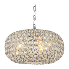 Oval-shaped Crystal and Chrome Light Pendant Chandelier