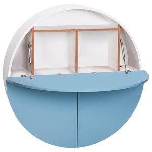 Multifunctional Pill Fold-Out Convertible Wall-Mounted Desk, Blue and White