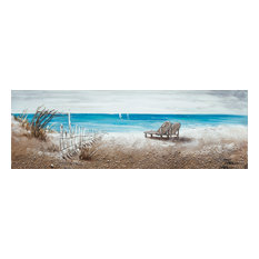 """""""The Ocean Front"""" Hand Painted Canvas Art, 60""""x20"""""""