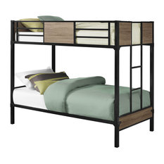 Monarch I 2237b Child Bedroom Bunk Bed - Twin Size/Dark Taupe - Black Metal