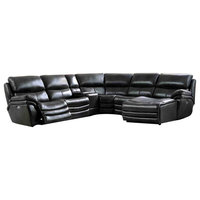 2711 Leather Sectional Sofa in Black, Right Facing Chaise