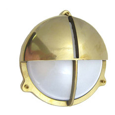 Industrial / Modern Round Bulkhead Sconce (UL Listed for US J-Box), Unlacquered