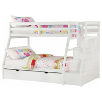 Contemporary Twin-Over-Full Bunk Bed, Solid Pine Wood, Storage Ladder, White