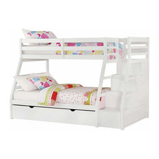Contemporary Twin over Full Size Bunk Bed, Solid Pine Wood, Storage Ladder, Whit