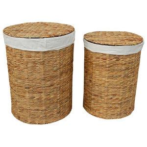 Water Hyacinth Round Laundry Basket, Set of 2