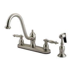 Kingston Br Double Handle 8 Centerset Kitchen Faucet With Sprayer Kb3118tlbs