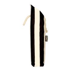 Irregular Stripes Bottle Bag, Black and Natural